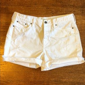 J. Crew Distressed White Denim Short